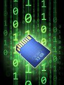 Tarjeta de memoria digital segura sobre un fondo de código binario. Ilustración digital.
