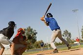 Baseball striker ready for a shot with keeper and umpire in position