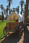 The open air museum. Restored antique wagon of the first settlers in the oasis in Death Valley