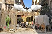 BARCELONA, SPAIN - AUGUST 17: Progres Street garnished during Festes de Gracia on August 17, 2012 in