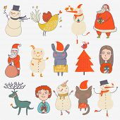 Christmas set. Cartoon characters in holiday style