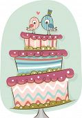 Illustration of Modern Wedding Cake in Retro Colors with Bride and Groom Birds