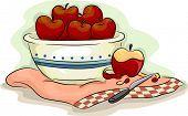 Illustration of Bowlful of Apples with a Peeled Apple on the Side