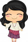 Ilustração de Filipina menina bonitinha usando a tradicional roupa japonesa