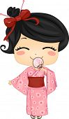 stock photo of national costume  - Illustration of Cute Little Japanese Girl Wearing Traditonal Costume - JPG