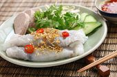 banh cuon, vietnamese steamed rice noodle roll, vietnamese popular breakfast food