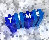 Creative 3D pieces of puzzle and word Time