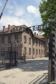 OSWIECIM - MAY 26: Gate at the entrance of in the concentration camp in Oswiecim, Poland on May 26, 2013. Oswiecim was the largest German concentration camp on Polish territory during World War II.