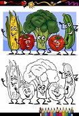 Vegetables Group For Coloring Book