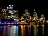 Looking Down The Yarra River At Melbourne Lights At Night