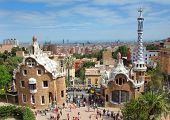 BARCELONA, SPAIN - MAY 9: The famous Park Guell on May 9, 2013 in Barcelona, Spain. Park Guell is th