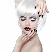Vogue Style Woman. Makeup And Hairstyle. Fashion Stylish Beauty Woman Portrait With White Short Hair