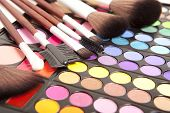 Makeup brushes and make-up eye shadows