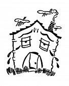 Casa triste - Retro Clip Art Illustration