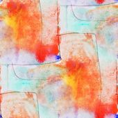 seamless cubism orange, blue abstract art Picasso texture waterc
