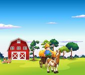 stock photo of riding-crop  - Illustration of a boy riding on a carriage with a barn at the back - JPG
