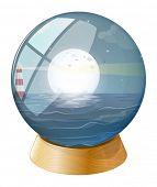 Ilustración de un mar con una luna llena dentro de la cúpula sobre un fondo blanco