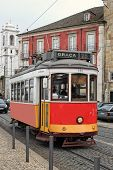 Historic Streetcar In Alfama Lisbon