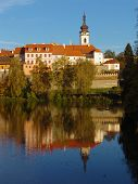 The Medieval Town Pisek On The River Otava poster