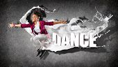 stock photo of rap  - Modern style dancer jumping and the word Dance - JPG