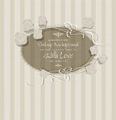 congratulation vintage background with flowers and a round frame
