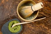 Bamboo spoon and wire whisk for zen tea ceremony