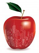 vector abstract red apple New York sign