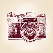 vintage old photo camera vector llustration