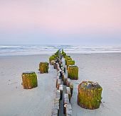 Landscape of Old pier posts on the beach