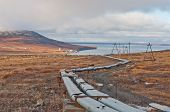 stock photo of chukotka  - Heating pipes in tundra - JPG