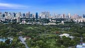Modern city in a green environment,Suan Lum,Bangkok,Thailand.