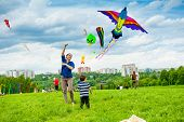 MOSCOW - MAY 25: Unidentified people fly kites at the kite festival in the park Tsaritsyno on May 25