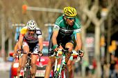 BARCELONA-, el 24 de marzo: Karol Domagalski de Caja Rural paseos durante el Tour de Cataluña ciclismo rac