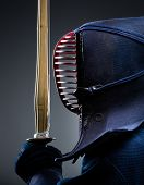 Profile of kendoka with bokuto. Japanese martial art of sword fighting