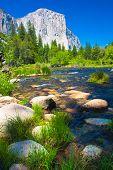 El Captain Rock with Merced River in Yosemite National Park,California