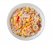 Постер, плакат: Полбы салат с Tunna морковь перец мозолей и оливками