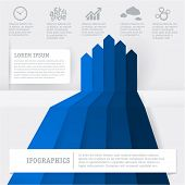 Blue infographic chart template. Vector