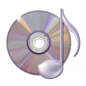 Musical note and cd disk - music icon.