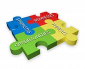 pic of swot analysis  - SWOT illustration of colorful puzzle pieces - JPG