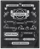 Hand drawn blackboard banner and ribbon vector illustration with texture added. Black chalkboard background. Label and artwork decoration. Set of calligraphic elements, frames, vintage labels.