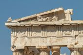 picture of parthenon  - Detail of Parthenon on the Acropolis in Athens Greece - JPG