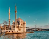 Ortakoy Mosque and The Bosphorus Bridge in Istanbul