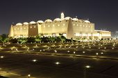 image of qatar  - Abdul Wahhab Mosque illuminated at night - JPG
