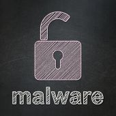 Security concept: Opened Padlock and Malware on chalkboard background