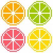 8-bit Pixel Art Citrus Fruit Slices - Orange, Lime, Grapefruit, Lemon. Seamless Background Tile