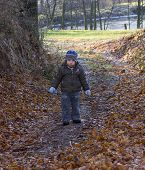 Little Boy With A Sad Face, Possibly Lost Walks A Forest Path