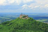 stock photo of swabian  - View from the top of Zeller Horn to Hohenzollern Castle in the Swabian Alb Baden - JPG
