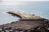 stone pier in the see