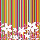 Decorative flowers, striped background