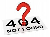 foto of not found  - 3D Red Question Point and Sheet  - JPG